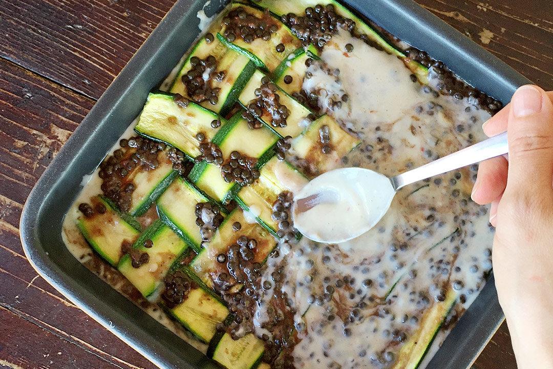 lasagna di zucchine e lenticchie beluga