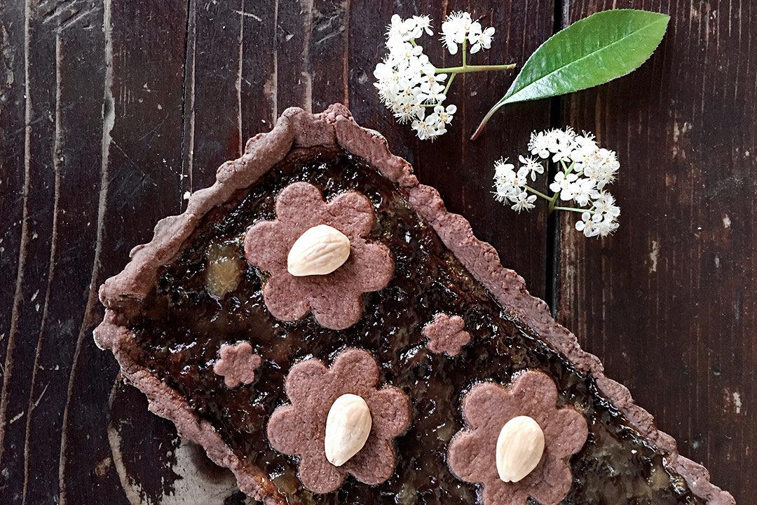crostata al cacao Nocciolata e pere